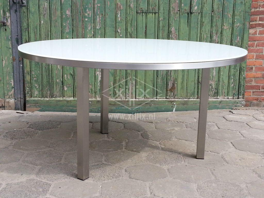 ronde rvs tuintafel xillix.nl met wit gelakt  extra helder glazen blad  doorsnede 1400 mm