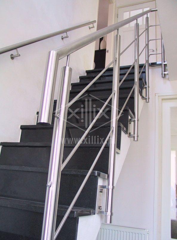 bevestiging rvs traphek met zijmontage