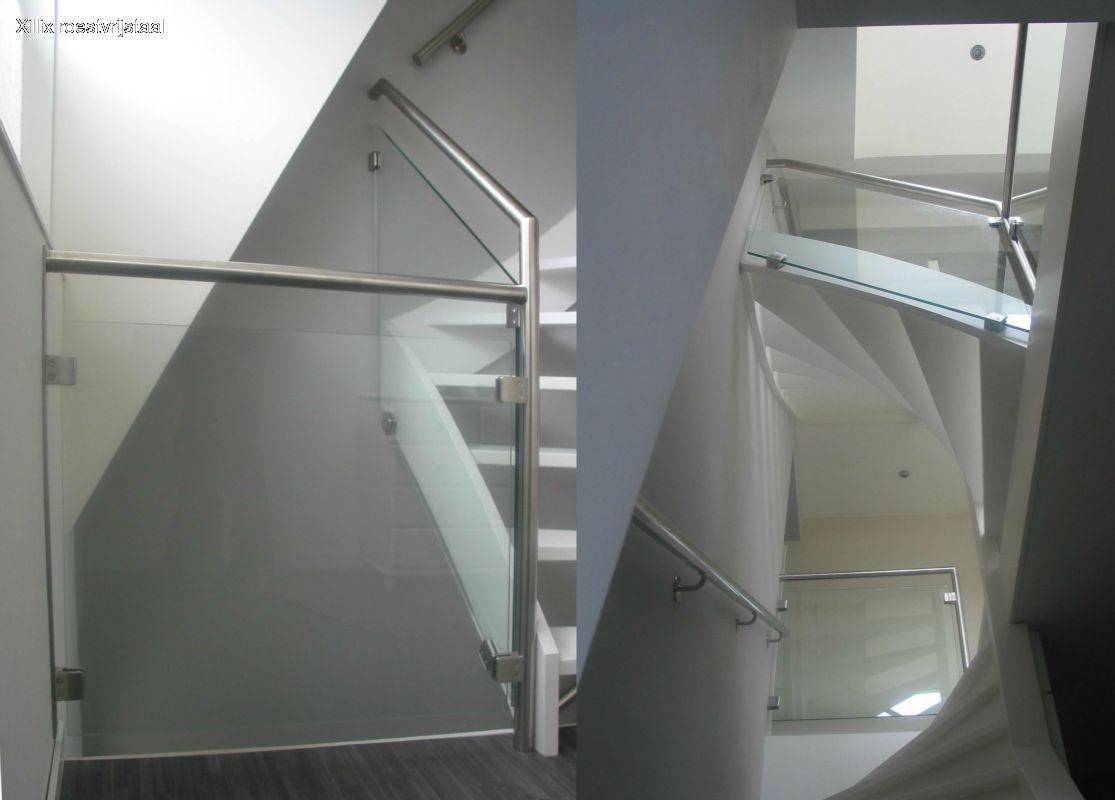 exclusieve balustrade xillix.nl uit rvs buis met glas en vierkante glasklemmen