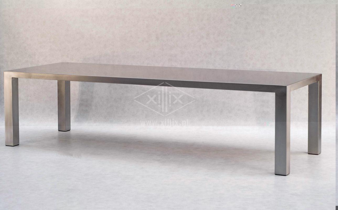 extra grote roestvrijstalen tuintafel xillix.nl, lengte 288 cm!