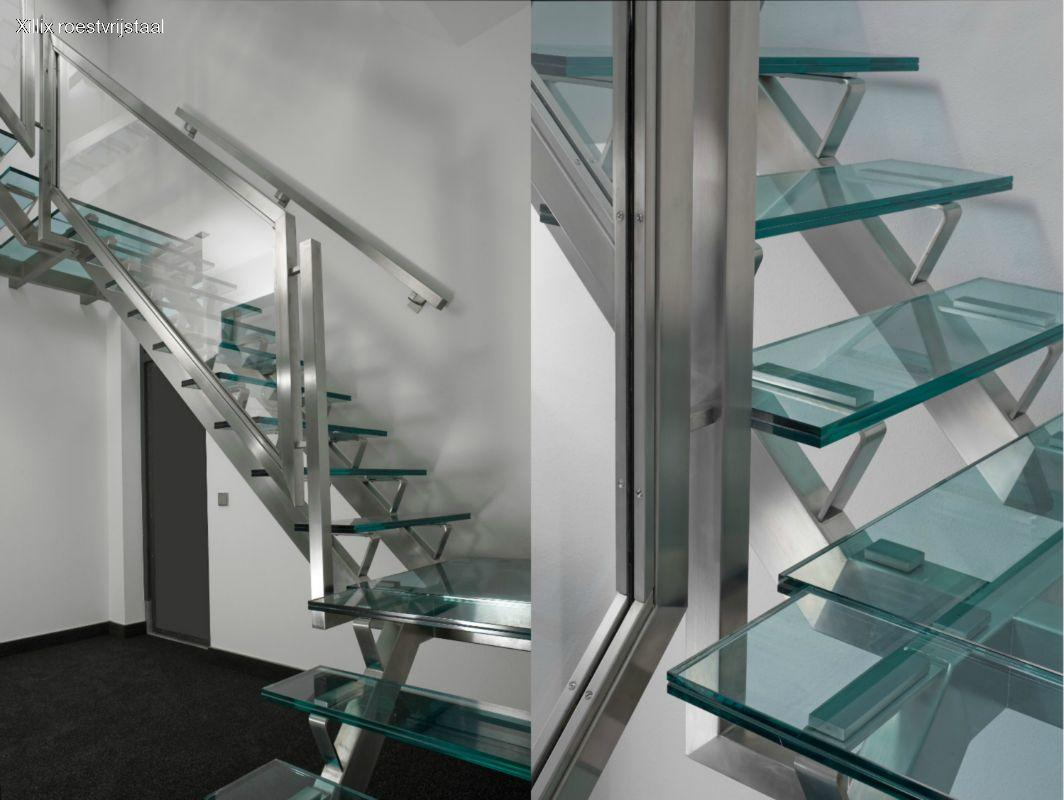 rvs met glazen treden bedrijfstrap xillix.nl