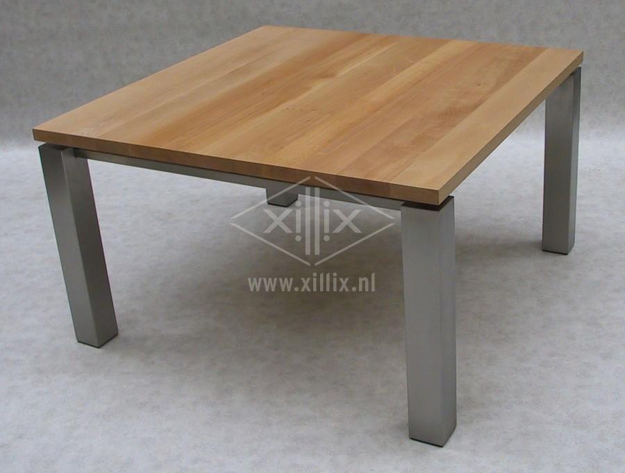 tafel vierkant beukenhout blad rvs poten